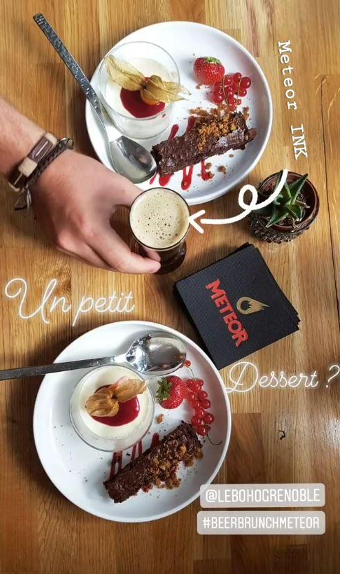 Brownie au chocolat et panacotta aux fr Meteor INK STREET BOUCHE - Accords Mets et Bières